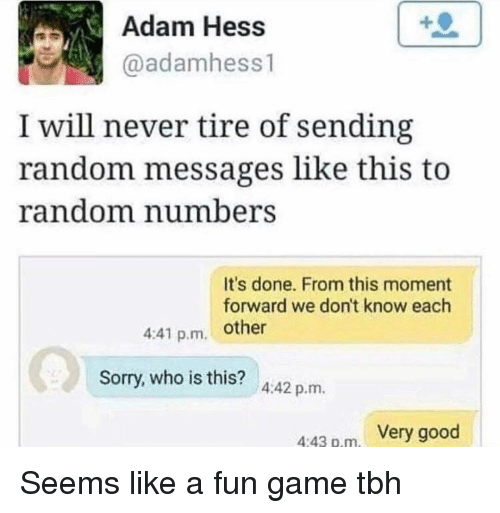 Funny, Sorry, and Tbh: Adam Hess  aadamhess1  I will never tire of sending  random messages like this to  random numberS  It's done. From this moment  forward we don't know each  4:41 p.m. other  0  Sorry, who is this?  4:42 p.m  443 p.m. Very good Seems like a fun game tbh
