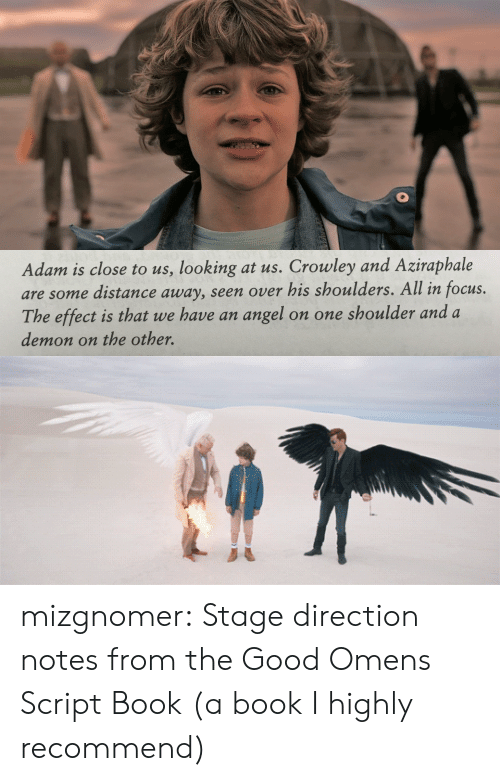 crowley: Adam is close to us, looking at us. Crowley and Aziraphale  are some distance away, seen over his shoulders. All in focus.  The effect is that we have an angel  on one shoulder and a  demon on the other. mizgnomer:  Stage direction notes from the Good Omens Script Book (a book I highly recommend)