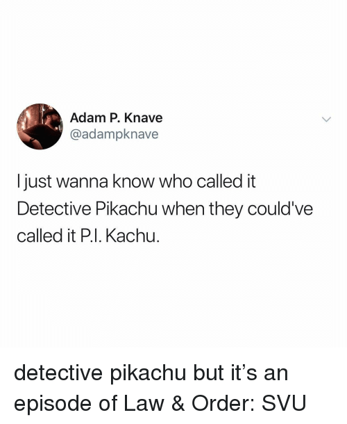 svu: Adam P. Knave  @adampknave  I just wanna know who called it  Detective Pikachu when they could've  called it P.I. Kachu. detective pikachu but it's an episode of Law & Order: SVU
