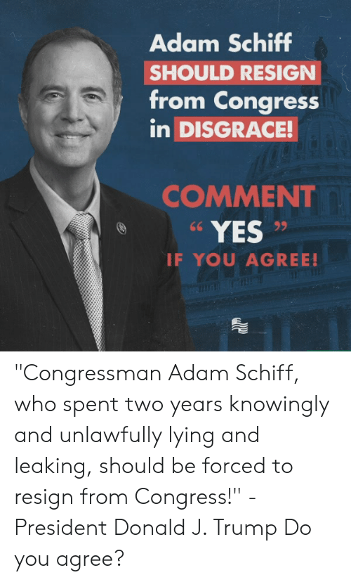 "Trump, Conservative, and Lying: Adam Schiff  SHOULD RESIGN  from Congress  in DISGRACE!  COMMENT  YES  IF YOU AGREE! ""Congressman Adam Schiff, who spent two years knowingly and unlawfully lying and leaking, should be forced to resign from Congress!"" -President Donald J. Trump  Do you agree?"