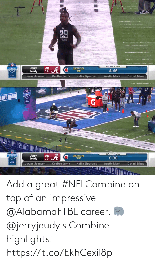 top: Add a great #NFLCombine on top of an impressive @AlabamaFTBL career. 🐘  @jerryjeudy's Combine highlights! https://t.co/EkhCexil8p