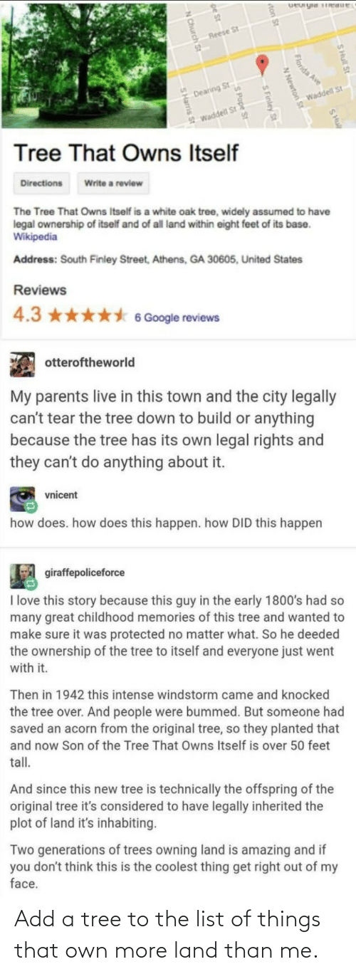 list of: Add a tree to the list of things that own more land than me.