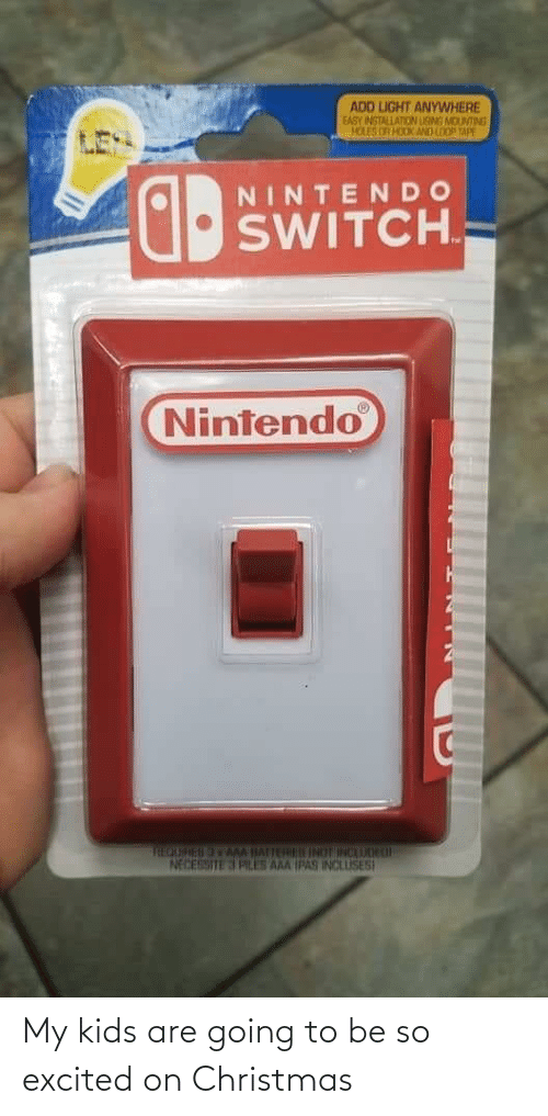 Nintendo: ADD LIGHT ANYWHERE  EASY INSTALLATION LISMS MOUNTING  HOLES OR HOOK AND LOO TAPE  NINTENDO  SWITCH.  Nintendo  THEOURESAMM IATTERU INOT INCAUOH L  NECESSITE 3 PLES AAA IPAS INCLUSES My kids are going to be so excited on Christmas