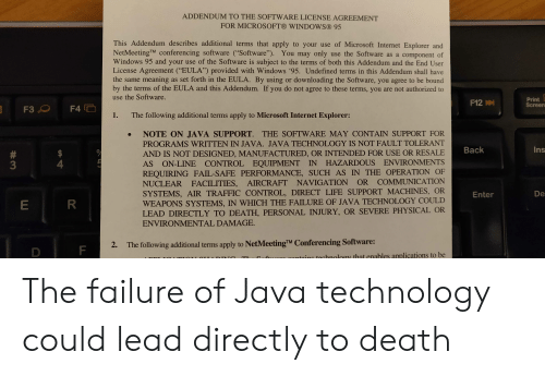 """Fail, Internet, and Life: ADDENDUM TO THE SOFTWARE LICENSE AGREEMENT  FOR MICROSOFT® WINDOWS® 95  This Addendum describes additional terms that apply to your use of Microsoft Internet Explorer and  NetMeetingTM conferencing software (""""Software""""). You may only use the Software as a component of  Windows 95 and your use of the Software is subject to the terms of both this Addendum and the End User  License Agreement (""""EULA"""") provided with Windows '95. Undefined terms in this Addendum shall have  the same meaning  by the terms of the EULA and this Addendum. If you do not agree to these terms, you are not authorized to  as set forth in the EULA. By using or downloading the Software, you agree to be bound  use the Software.  Print  Screen  F12  F3  F4  The following additional terms apply to Microsoft Internet Explorer:  1.  NOTE ON JAVA SUPPORT. THE SOFTWARE MAY CONTAIN SUPPORT FOR  PROGRAMS WRITTEN IN JAVA. JAVA TECHNOLOGY IS NOT FAULT TOLERANT  Ins  Back  AND IS NOT DESIGNED, MANUFACTURED, OR INTENDED FOR USE OR RESALE  AS ON-LINE CONTROL EQUIPMENT IN HAZARDOUS ENVIRONMENTS  REQUIRING FAIL-SAFE PERFORMANCE, SUCH AS IN THE OPERATION OF  NUCLEAR FACILITIES, AIRCRAFT NAVIGATION  SYSTEMS, AIR TRAFFIC CONTROL, DIRECT LIFE SUPPORT MACHINES, OR  WEAPONS SYSTEMS, IN WHICH THE FAILURE OF JAVA TECHNOLOGY COULD  LEAD DIRECTLY TO DEATH, PERSONAL INJURY, OR SEVERE PHYSICAL OR  ENVIRONMENTAL DAMAGE.  #  3  OR COMMUNICATION  De  Enter  R  The following additional terms apply to NetMeetingTM Conferencing Software:  2.  F  D  nu gontaine technology that enables applications to be  TA DT TO  LL  4 The failure of Java technology could lead directly to death"""