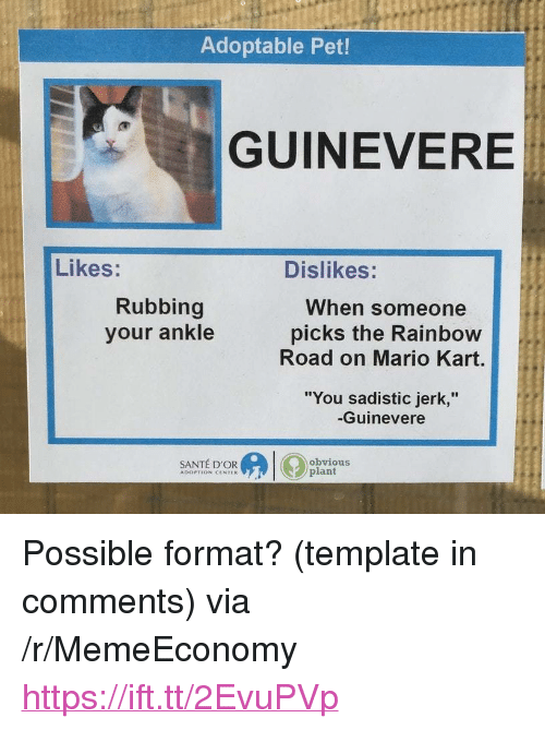 """Mario Kart, Mario, and Rainbow: Adoptable Pet!  GUINEVERE  Likes:  Dislikes:  Rubbing  your ankle  When someone  picks the Rainbow  Road on Mario Kart.  """"You sadistic jerk,""""  -Guinevere  SANTÉ D'OR  obvious  plant  ADOPTION CENTEK <p>Possible format? (template in comments) via /r/MemeEconomy <a href=""""https://ift.tt/2EvuPVp"""">https://ift.tt/2EvuPVp</a></p>"""