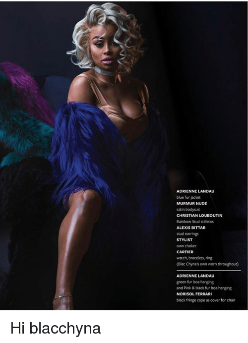 Ferrari, Memes, and Black: ADRIENNE LANDAU  blue fur jacket  MURMUR NUDE  satin bodysuit  CHRISTIAN LOUBOUTIN  Rainbow Stud stilletos  ALEXIS BITTAR  stud earrings  STYLIST  own choker  CARTIER  watch, bracelets, ring  (Blac Chyna's own worn throughout)  ADRIENNE LANDAU  green fur boa hanging  and Pink & black fur boa hanging  NORISOL FERRARI  black fringe cape as cover for chair Hi blacchyna