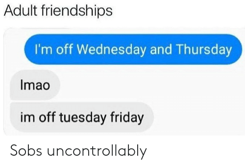 Friday, Wednesday, and Adult: Adult friendships  I'm off Wednesday and Thursday  Imao  im off tuesday friday Sobs uncontrollably