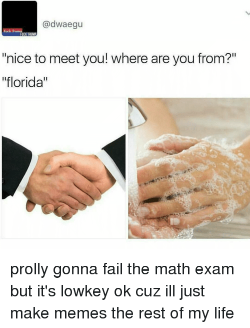 """Making Meme: adwaegu  Trumn  FUCK TRUMP  """"nice to meet you! where are you from?""""  """"florida"""" prolly gonna fail the math exam but it's lowkey ok cuz ill just make memes the rest of my life"""