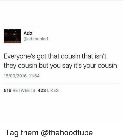 Memes, 🤖, and Got: Adz  @adzbanks1  Everyone's got that cousin that isn't  they cousin but you say it's your cousin  18/09/2016, 11:54  516 RETWEETS 423 LIKES Tag them @thehoodtube