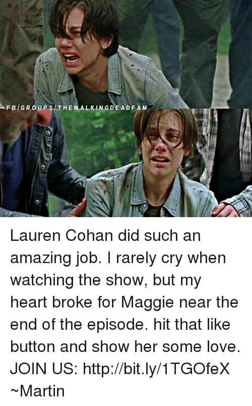 Af, Crying, and Lauren Cohan: AF BAG u PiS THE WALKING DAE A DFA M  GRO Lauren Cohan did such an amazing job.  I rarely cry when watching the show, but my heart broke for Maggie near the end of the episode. hit that like button and show her some love.  JOIN US: http://bit.ly/1TGOfeX ~Martin