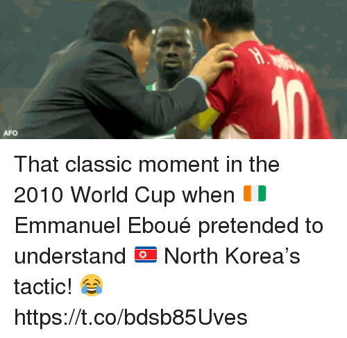 North Korea, Soccer, and World Cup: AFO That classic moment in the 2010 World Cup when 🇨🇮 Emmanuel Eboué pretended to understand 🇰🇵 North Korea's tactic! 😂 https://t.co/bdsb85Uves
