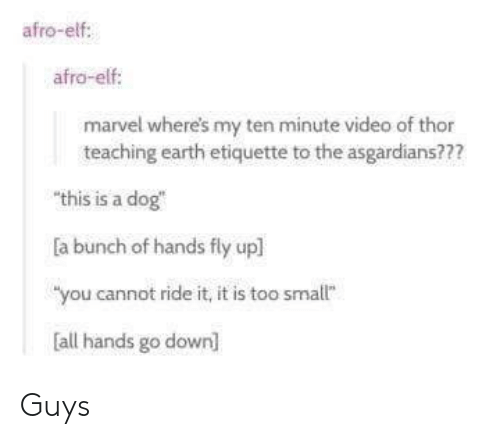 """Ridings: afro-elf:  afro-elf  marvel where's my ten minute video of thor  teaching earth etiquette to the asgardians???  """"this is a dog  a bunch of hands fly upl  """"you cannot ride it, it is too smallt""""  all hands go down] Guys"""
