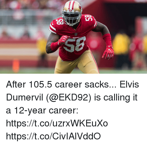 Memes, 🤖, and Elvis: After 105.5 career sacks...  Elvis Dumervil (@EKD92) is calling it a 12-year career: https://t.co/uzrxWKEuXo https://t.co/CivIAlVddO