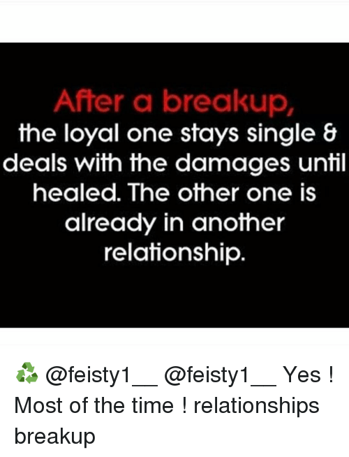 Memes, Singles, and Single: After a breakup  the loyal one stays single &  deals with the damages until  healed. The other one is  already in another  relationship ♻️ @feisty1__ @feisty1__ Yes ! Most of the time ! relationships breakup