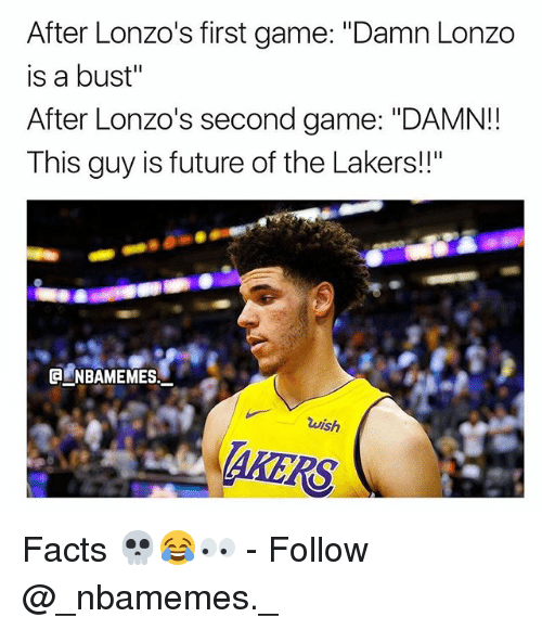 """Facts, Future, and Los Angeles Lakers: After Lonzo's first game: """"Damn Lonzo  is a bust""""  After Lonzo's second game: """"DAMN!!  This guy is future of the Lakers!""""  wish  AKERS Facts 💀😂👀 - Follow @_nbamemes._"""