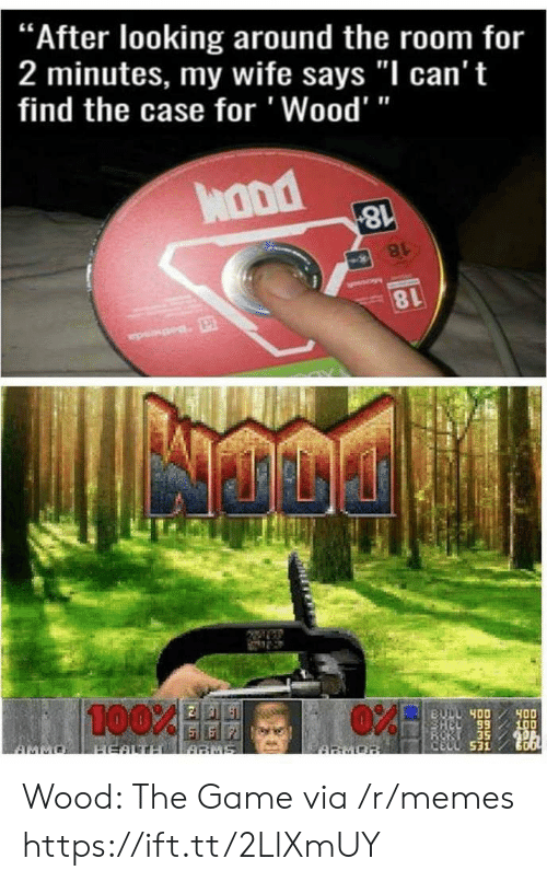 "Anaconda, Memes, and The Game: ""After looking around the room for  2 minutes, my wife says ""I can't  find the case for 'Wood'""  hond  8l  100%  89  CELL 531 Wood: The Game via /r/memes https://ift.tt/2LlXmUY"