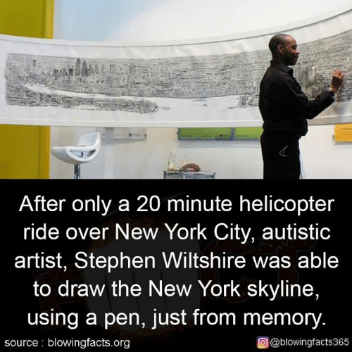 Memes, New York, and Stephen: After only a 20 minute helicopter  ride over New York City, autistic  artist, Stephen Wiltshire was able  to draw the New York skyline,  using a pen, just from memory.  source blowingfacts.org  O@blowingfacts365