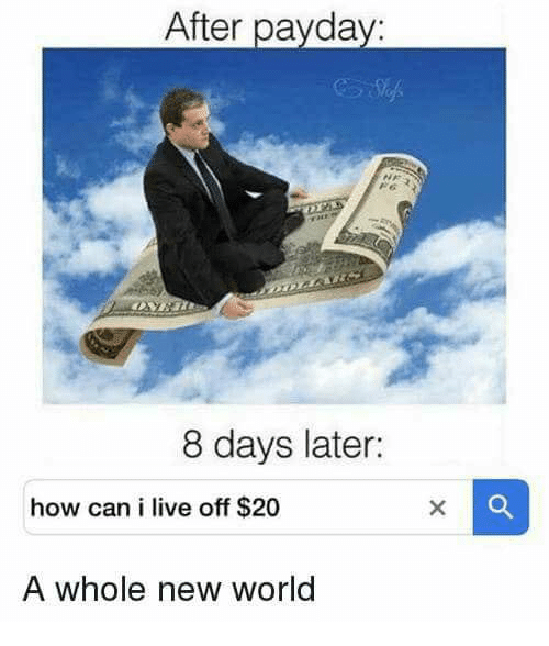 Live, World, and 20 A: After paydav:  8 days later:  how can i live off $20  A whole new world