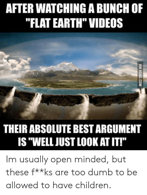 "Children, Dumb, and Videos: AFTER WATCHING A BUNCH OF  ""FLAT EARTH"" VIDEOS  THEIR ABSOLUTE BEST ARGUMENT  IS ""WELL JUST LOOK AT IT!"" Im usually open minded, but these f**ks are too dumb to be allowed to have children."