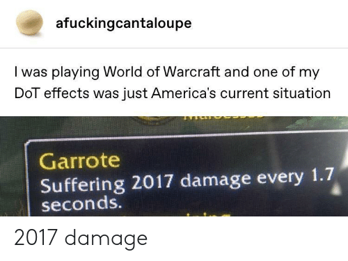 World, Suffering, and Warcraft: afuckingcantaloupe  I was playing World of Warcraft and one of my  DoT effects was just America's current situation  Garrote  Suffering 2017 damage every 1.7  seconds. 2017 damage