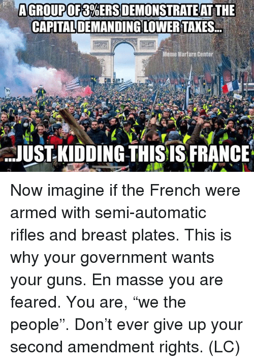 "Guns, Meme, and Memes: AGROUP OF 3%ERSDEMONSTRAT EAT THE  CAPITALDEMANDING LOWER TAXES.  Meme Warfare Center  JUST- KIDDING THISIS FRANCE Now imagine if the French were armed with semi-automatic rifles and breast plates. This is why your government wants your guns.  En masse you are feared.  You are, ""we the people"". Don't ever give up your second amendment rights.  (LC)"