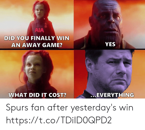 Memes, Game, and Spurs: AIA  DID YOU FINALLY WIN  YES  AN AWAY GAME?  ...EVERYTHING  WHAT DID IT COST? Spurs fan after yesterday's win https://t.co/TDiID0QPD2