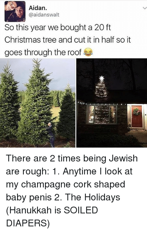 Christmas, Memes, and Champagne: Aidan.  @aidanswalt  So this year we bought a 20 ft  Christmas tree and cut it in half so it  goes through the roof There are 2 times being Jewish are rough: 1. Anytime I look at my champagne cork shaped baby penis 2. The Holidays (Hanukkah is SOILED DIAPERS)