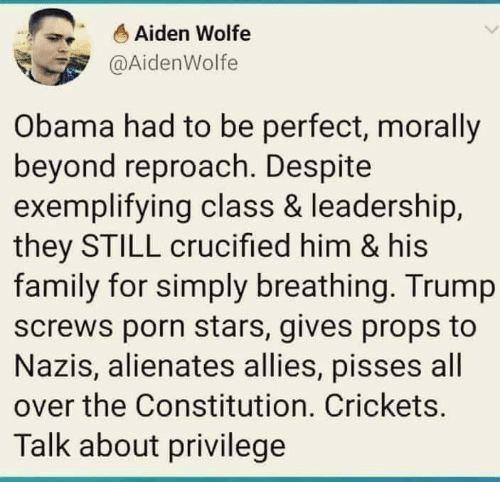 Family, Obama, and Constitution: Aiden Wolfe  @AidenWolfe  Obama had to be perfect, morally  beyond reproach. Despite  exemplifying class & leadership,  they STILL crucified him & his  family for simply breathing. Trump  screws porn stars, gives props to  Nazis, alienates allies, pisses all  over the Constitution. Crickets.  Talk about privilege
