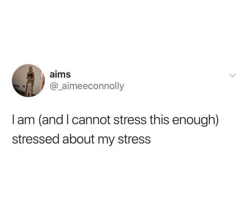 Stress, This, and Enough: aims  @_aimeeconnolly  I am (and I cannot stress this enough)  stressed about my stress