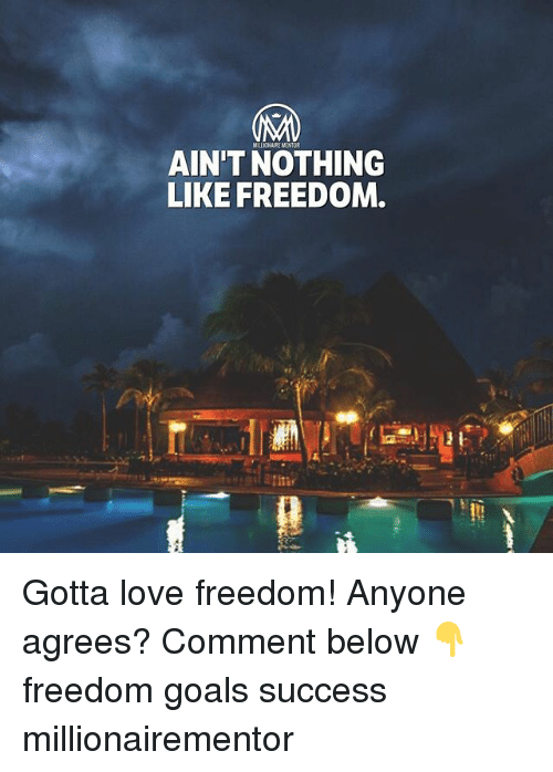Goals, Love, and Memes: AIN'T NOTHING  LIKE FREEDOM Gotta love freedom! Anyone agrees? Comment below 👇 freedom goals success millionairementor