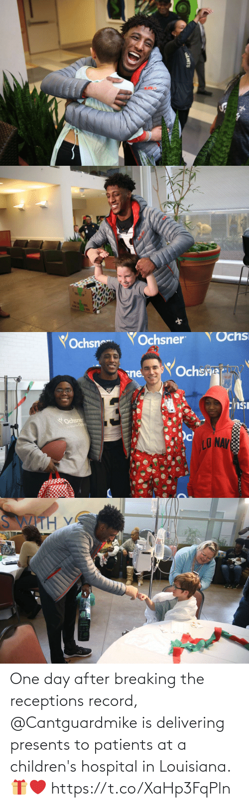 Patients: AINTS   TRIS! 1P  FRLE CA T  LENE LA   Yochsn  YOchsner  Ochs  Ochsre  sne.  chsi  YOchsner  Hospai For Childwan  LO NAV   SWITH V One day after breaking the receptions record, @Cantguardmike is delivering presents to patients at a children's hospital in Louisiana. 🎁❤️ https://t.co/XaHp3FqPln
