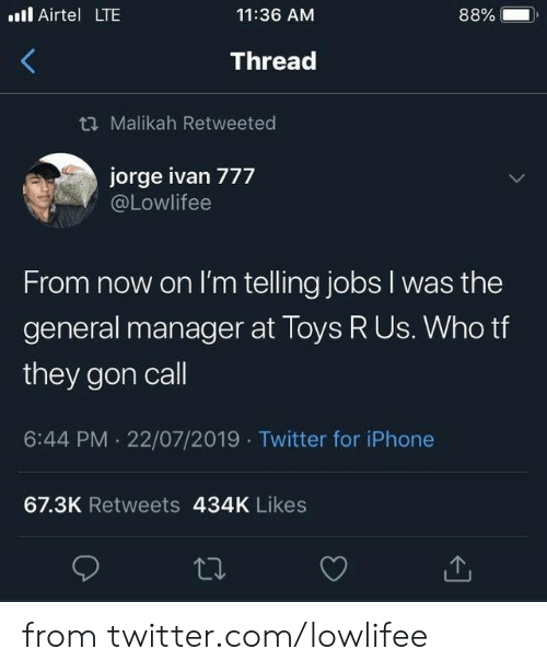 Dank, Iphone, and Toys R Us: . Airtel LTE  88%  11:36 AM  Thread  t Malikah Retweeted  jorge ivan 777  @Lowlifee  From now on I'm telling jobs I was the  general manager at Toys R Us. Who tf  they gon call  6:44 PM 22/07/2019 Twitter for iPhone  67.3K Retweets 434K Likes from twitter.com/lowlifee