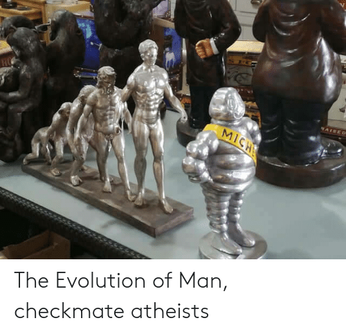 Evolution Of: AISED  MICH The Evolution of Man, checkmate atheists