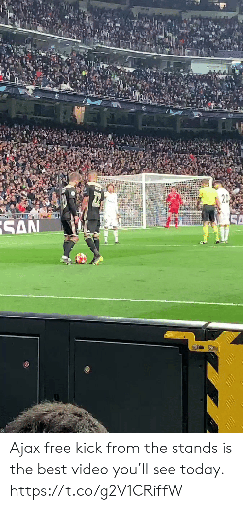 Best Video: Ajax free kick from the stands is the best video you'll see today. https://t.co/g2V1CRiffW