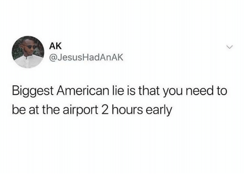 Dank, American, and 🤖: AK  @JesusHadAnAK  Biggest American lie is that you need to  be at the airport 2 hours early