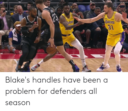 handles: AKERS  31  OTO  Li  ac Blake's handles have been a problem for defenders all season