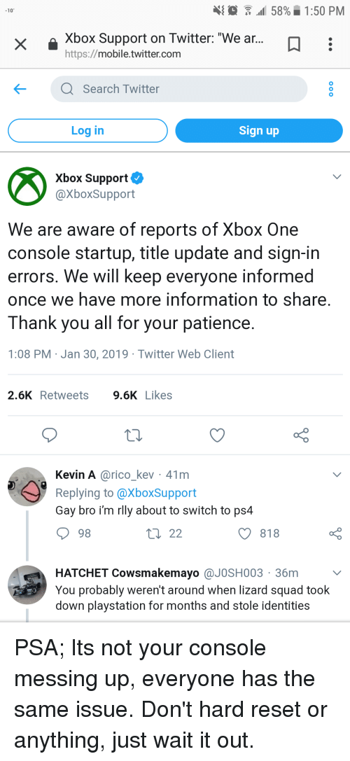 Al 58% 150 PM 10 Xbox Support on Twitter We Ar