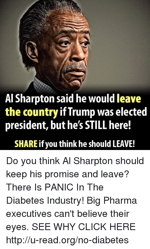 Al Sharpton, Click, and Memes: Al Sharpton said he would leave  the country if Trump was elected  president, buthe's STILL here!  SHARE if you think he should LEAVE! Do you think Al Sharpton should keep his promise and leave?  There Is PANIC In The Diabetes Industry! Big Pharma executives can't believe their eyes. SEE WHY CLICK HERE ►► http://u-read.org/no-diabetes