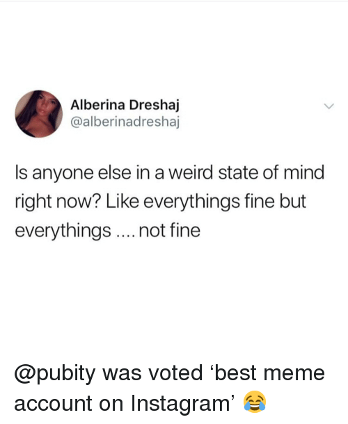 Instagram, Meme, and Memes: Alberina Dreshaj  @alberinadreshaj  Is anyone else in a weird state of mind  right now? Like everythings fine but  everythings.. not fine @pubity was voted 'best meme account on Instagram' 😂