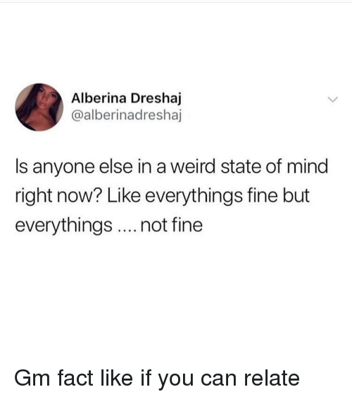 Memes, Weird, and Mind: Alberina Dreshaj  @alberinadreshaj  Is anyone else in a weird state of mind  right now? Like everythings fine but  everythings.. not fine Gm fact like if you can relate