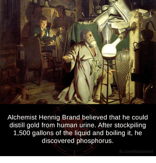 phosphorus: Alchemist Hennig Brand believed that he could  distill gold from human urine. After stockpiling  1,500 gallons of the liquid and boiling it, he  discovered phosphorus.  fb.com/facts Weird