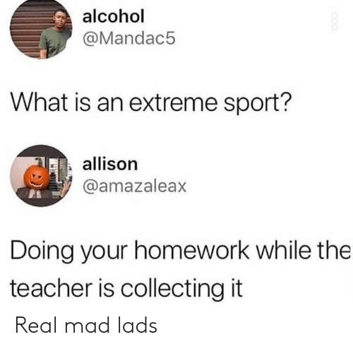 extreme sport: alcohol  @Mandac5  What is an extreme sport?  allison  @amazaleax  Doing your homework while the  teacher is collecting it Real mad lads