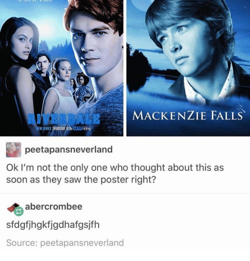 Ironic, Saw, and Soon...: ALE MACKENZIE FALLS  NEW SERIES  peetapansneverland  Ok I'm not the only one who thought about this as  soon as they saw the poster right?  albercrombee  sfdgfjhgkfigdhafgsjfh  Source: peetapansneverland