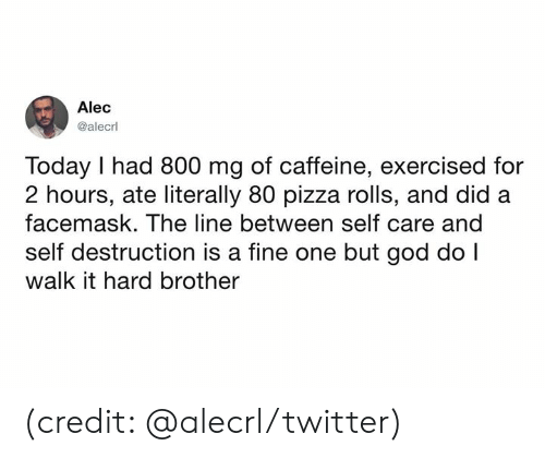 Dank, God, and Pizza: Alec  @alecrl  Today I had 800 mg of caffeine, exercised for  2 hours, ate literally 80 pizza rolls, and did  facemask. The line between self care and  self destruction is a fine one but god do I  walk it hard brother (credit: @alecrl/twitter)