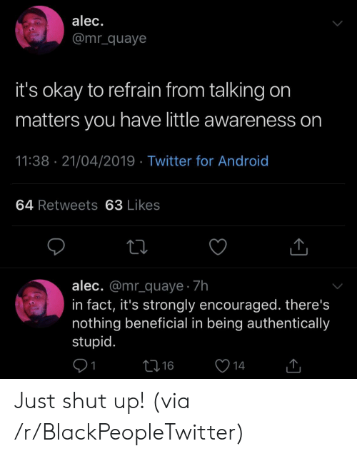 Android, Blackpeopletwitter, and Shut Up: alec.  @mr_quaye  it's okay to refrain from talking on  matters you have little awareness on  11:38 21/04/2019 Twitter for Android  64 Retweets 63 Likes  alec. @mr_quaye 7h  in fact, it's strongly encouraged. there's  nothing beneficial in being authentically  stupid.  L16  14 Just shut up! (via /r/BlackPeopleTwitter)