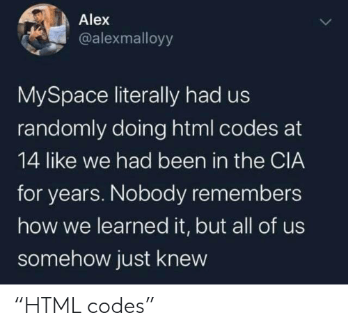 """cia: Alex  @alexmalloyy  MySpace literally had us  randomly doing html codes at  14 like we had been in the CIA  for years. Nobody remembers  how we learned it, but all of us  somehow just knew """"HTML codes"""""""