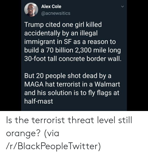 terrorist: Alex Cole  @acnewsitics  Trump cited one girl killed  accidentally by an illegal  immigrant in SF as a reason to  build a 70 billion 2,300 mile long  30-foot tall concrete border wall.  But 20 people shot dead by a  MAGA hat terrorist in a Walmart  and his solution is to fly flags at  half-mast Is the terrorist threat level still orange? (via /r/BlackPeopleTwitter)