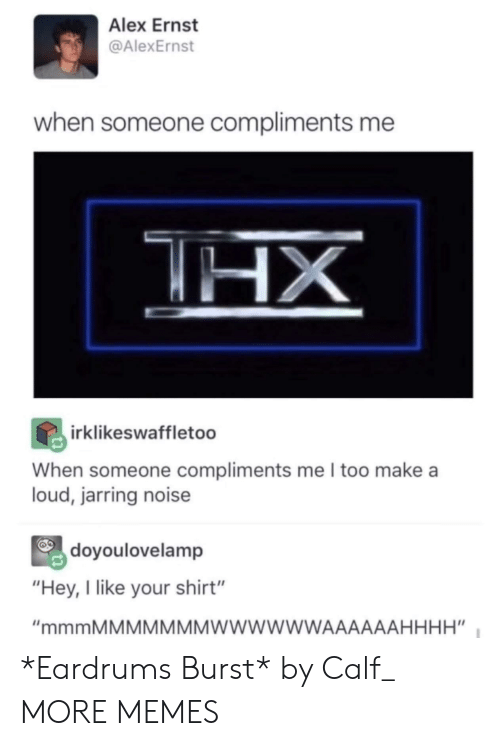 """Dank, Memes, and Target: Alex Ernst  @AlexErnst  when someone compliments me  irklikeswaffletoo  When someone compliments me I too make a  loud, jarring noise  doyoulovelamp  """"Hey, I like your shirt"""" *Eardrums Burst* by Calf_ MORE MEMES"""