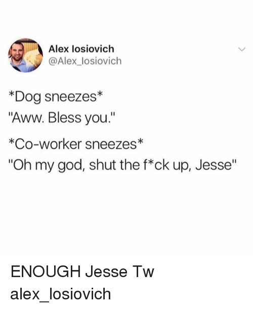 """Aww, God, and Memes: Alex losiovich  @Alex_losiovich  *Dog sneezes*  """"Aww. Bless you.""""  *Co-worker sneezes*  """"Oh my god, shut the f*ck up, Jesse"""" ENOUGH Jesse Tw alex_losiovich"""
