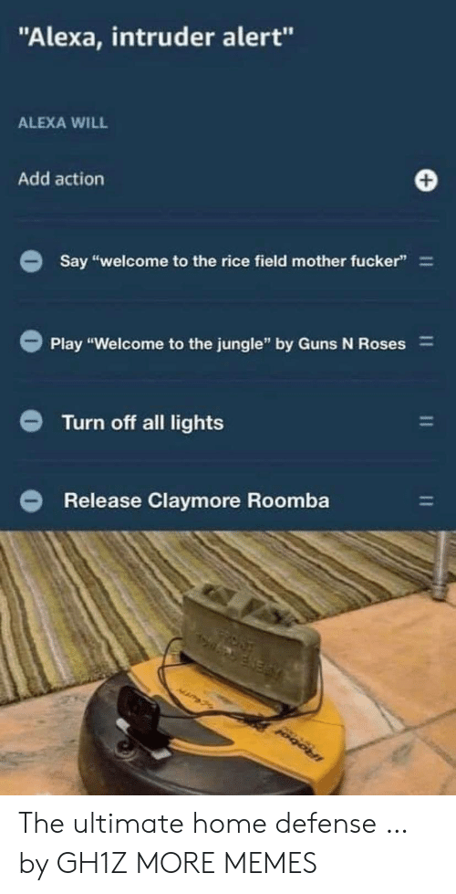 "Dank, Guns, and Memes: ""Alexa, intruder alert""  ALEXA WILL  Add action  Say ""welcome to the rice field mother fucker""  Play ""Welcome to the jungle"" by Guns N Roses  Turn off all lights  Release Claymore Roomba  IRobol  11 The ultimate home defense … by GH1Z MORE MEMES"